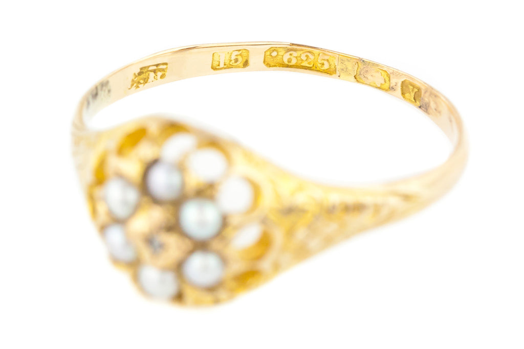 15ct Yellow Gold Diamond and Pearl Cluster Ring c.1870