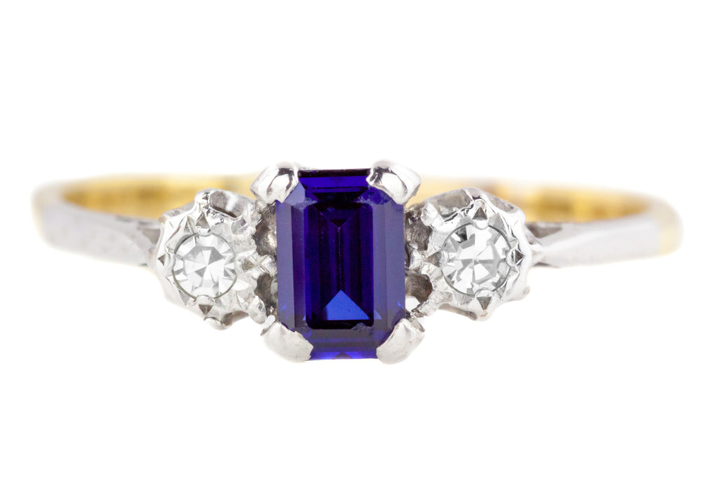 Art Deco Sapphire and Diamond Trilogy Ring c.1920