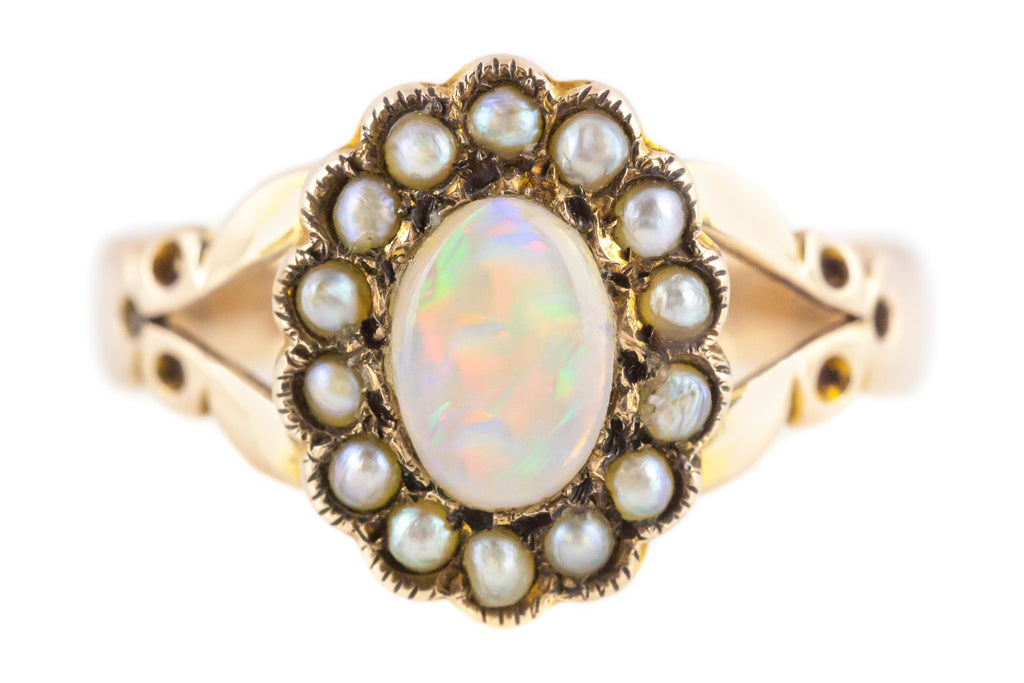 Edwardian Opal and Pearl Cluster Ring c.1900
