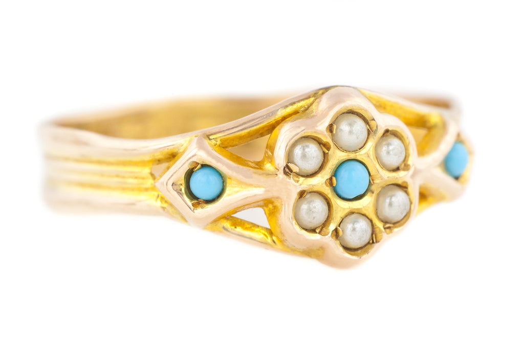 Dainty 9ct Gold Victorian Pearl and Turquoise Ring c.1900