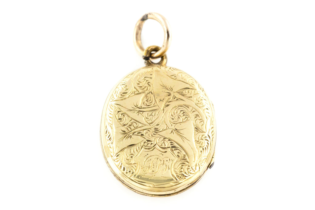 Victorian 9ct Gold Locket with Blue Enamel c.1870