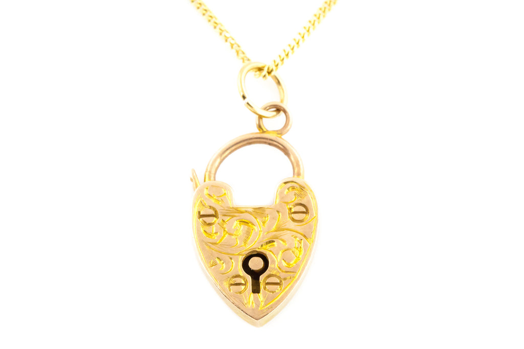Victorian 9ct Gold Fancy Heart Shaped Padlock Charm Pendant