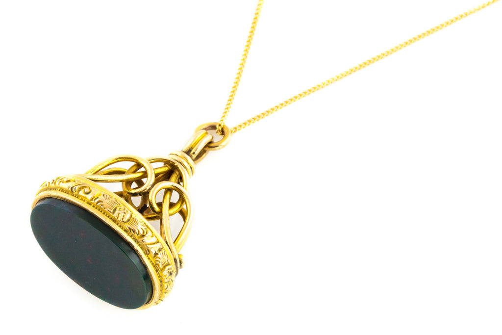 9ct Gold Victorian Bloodstone Fob Pendant with Chain