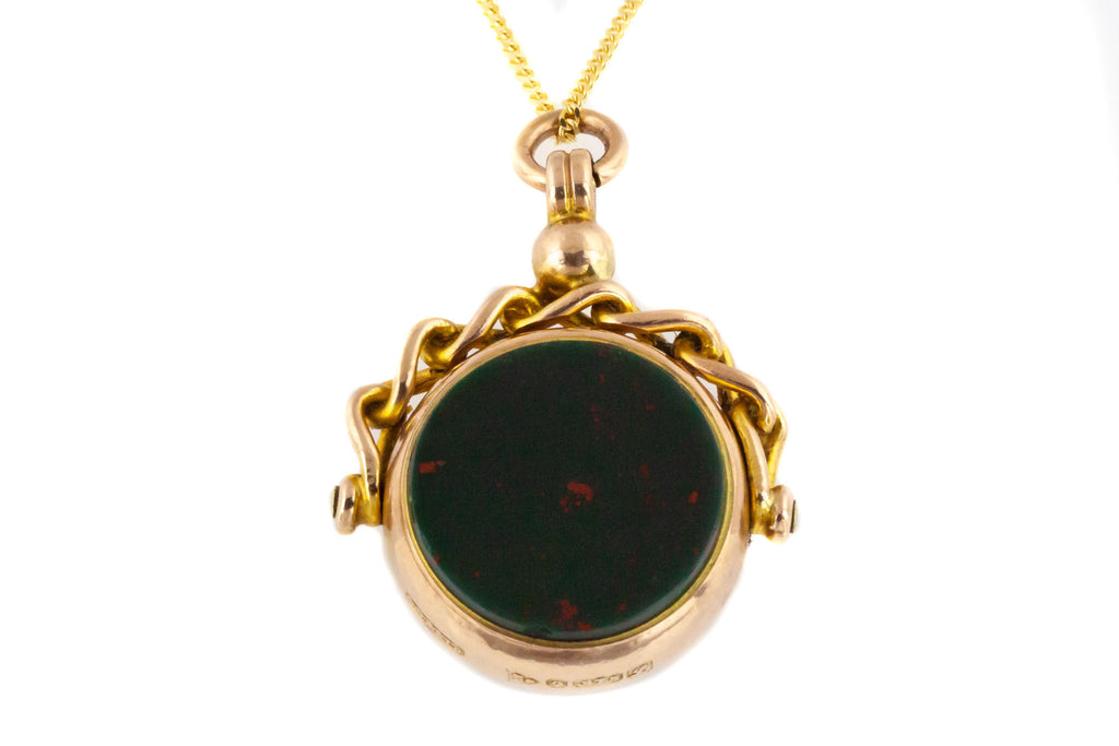 Antique Solid Gold Bloodstone and Carnelian Swivel Fob Pendant