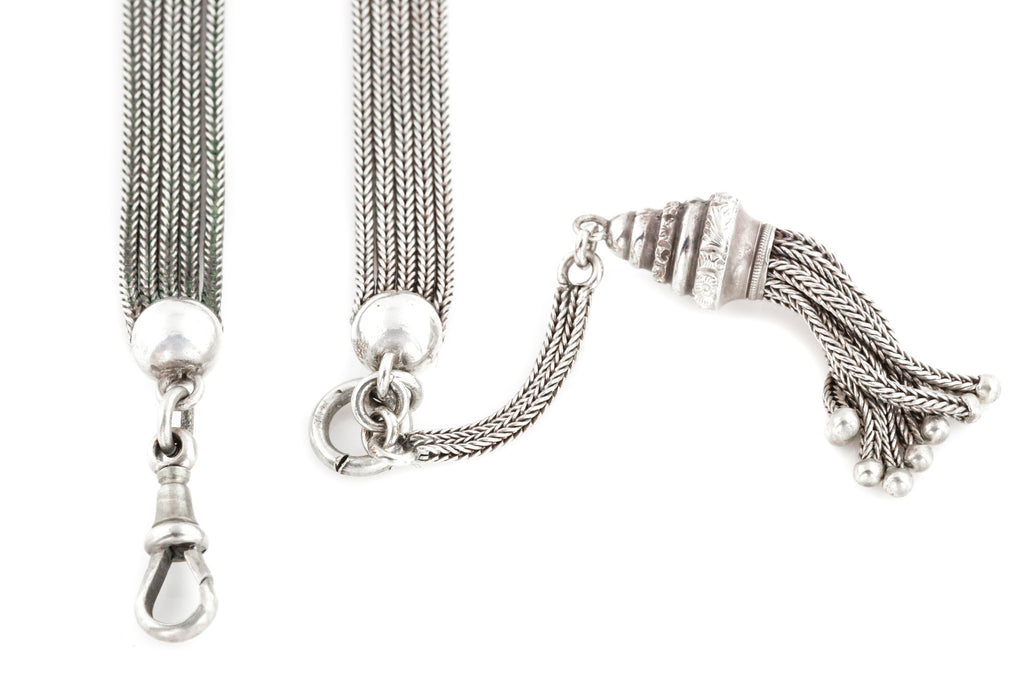 Victorian Silver Albertina Chain with Three Repousse Beads and Tassel