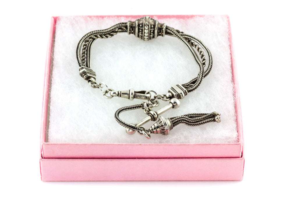 Victorian Silver Albertina Bracelet with Tassel Charm