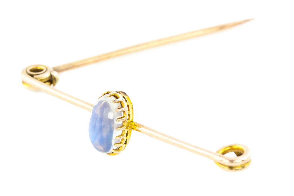 GIVEAWAY ITEM! - Antique 9ct Gold Safety Pin Brooch with Fine Ceylon Moonstone (4.2ct)