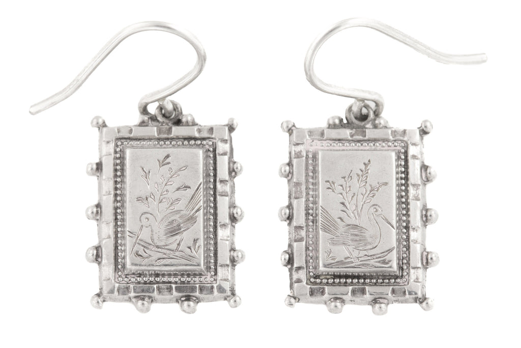 Victorian Aesthetic Silver Drop Earrings, c.1876