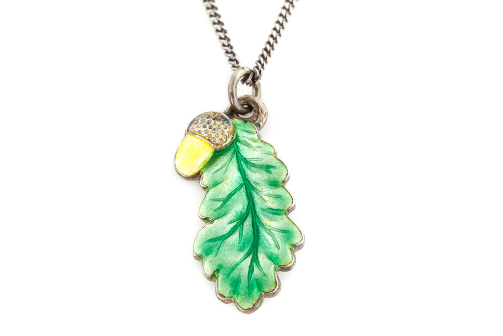 Antique Silver and Enamel Oak Leaf and Yellow Acorn Charm Pendant.