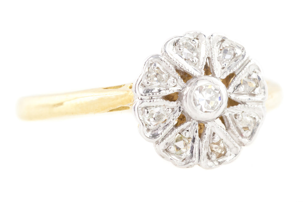 18ct Gold Vintage Diamond Cluster Ring