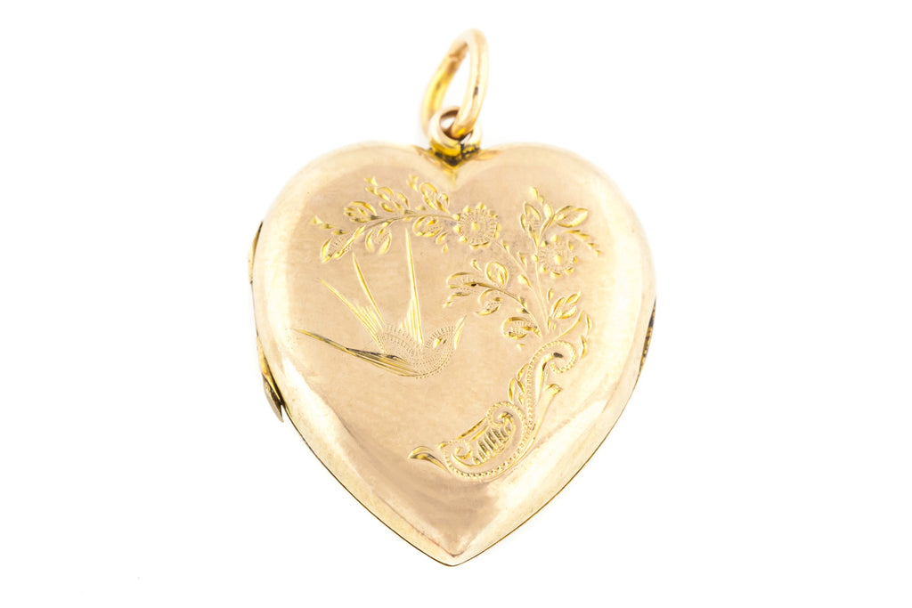 Edwardian 9ct Gold Heart Locket with Engraved Birds
