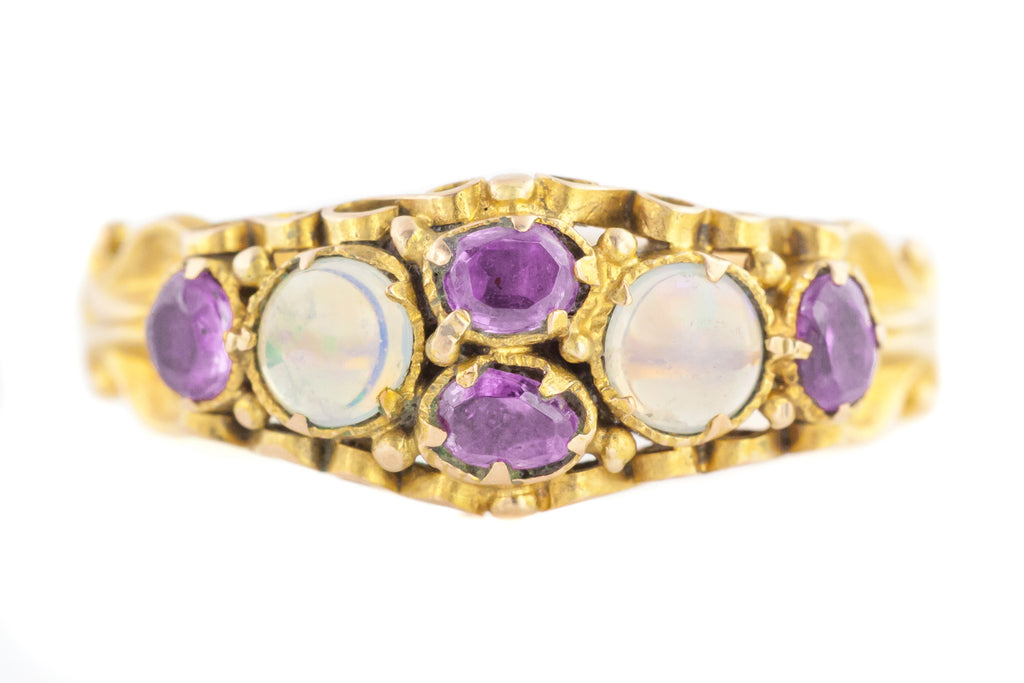 Antique 15ct Gold Opal Garnet Ring c.1840