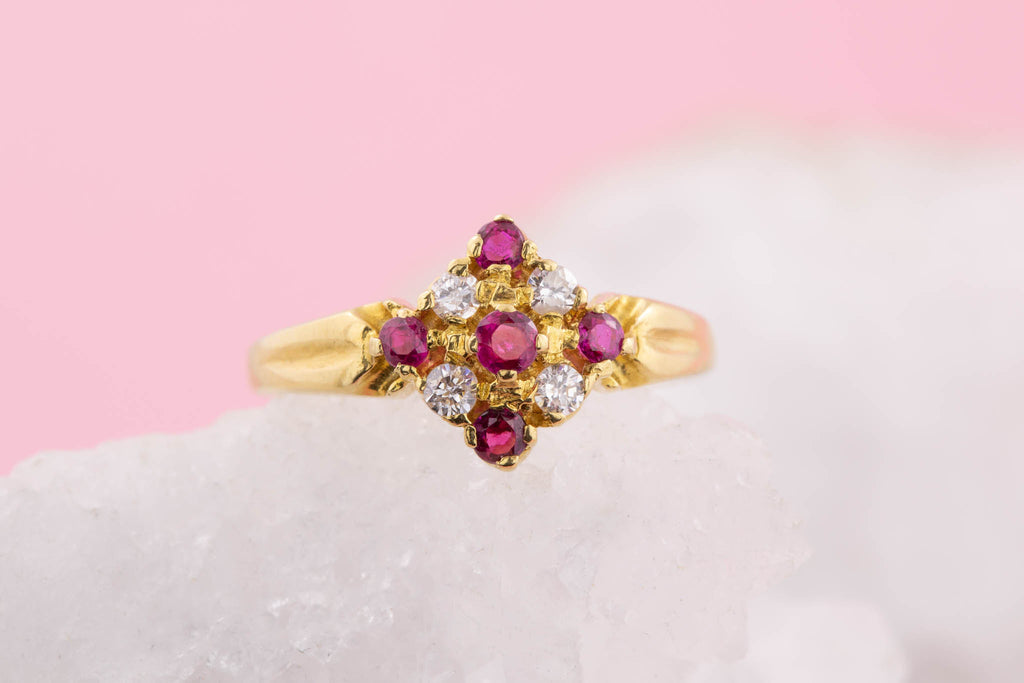 18ct Gold Victorian Ruby and Diamond Fancy Ring