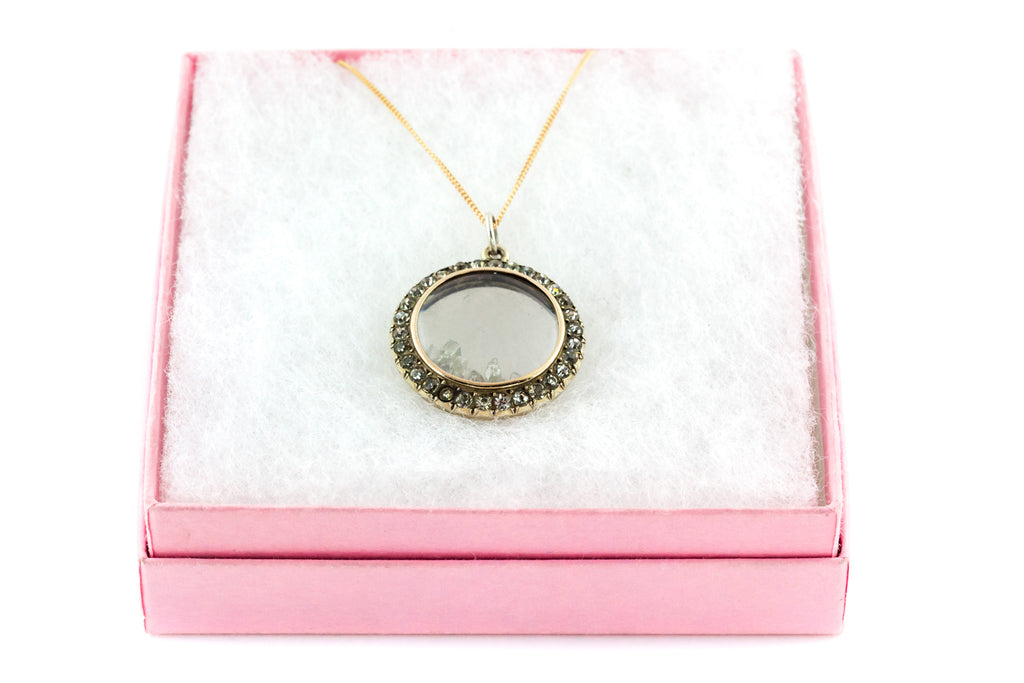 Antique Edwardian Shaker Locket with Rough Diamonds and 9ct Gold Chain