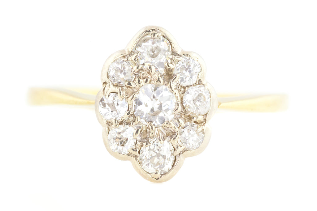 18ct Gold Art Deco Diamond Cluster Engagement Ring (0.50ct)