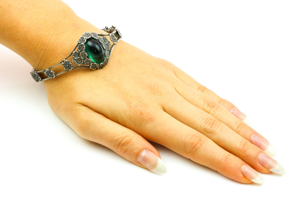 French Antique Silver Bangle with Flowers and Large Green Glass