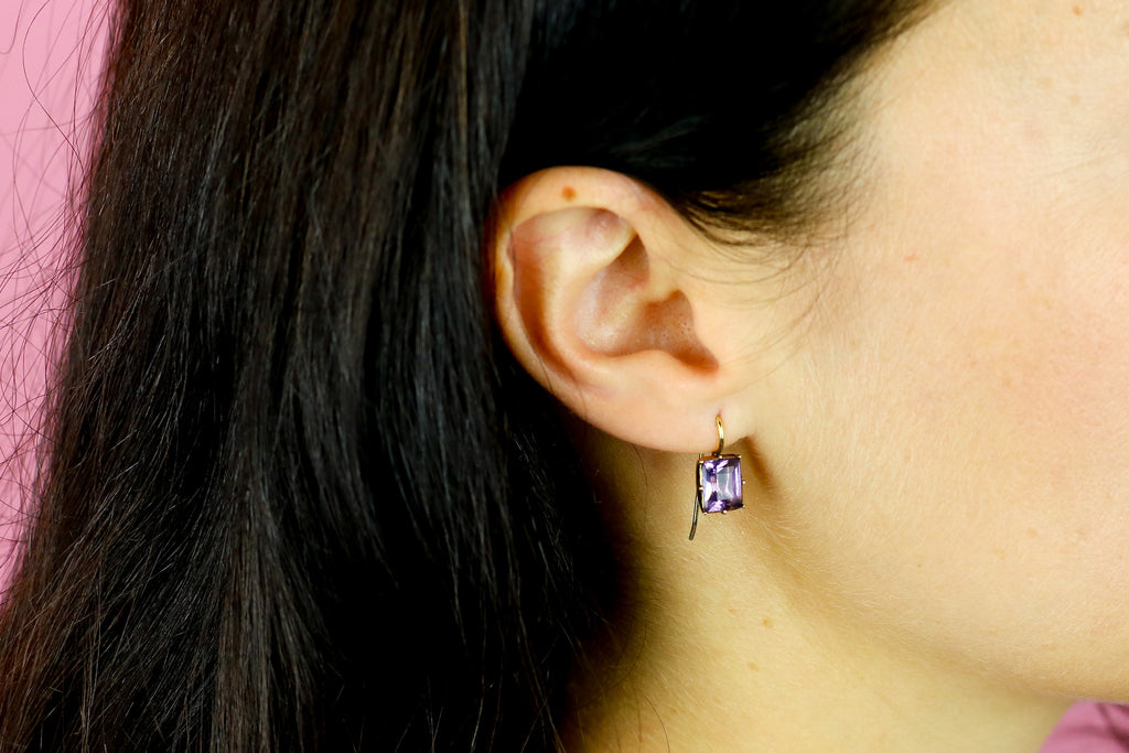 Georgian Natural Amethyst Drop Earrings