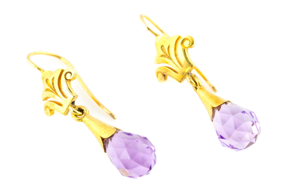 Antique 9ct Gold Briolette Amethyst Drop Earrings