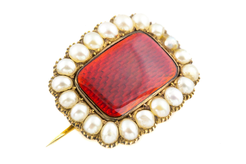 15ct Gold Georgian Brooch with Red Enamel and Pearls