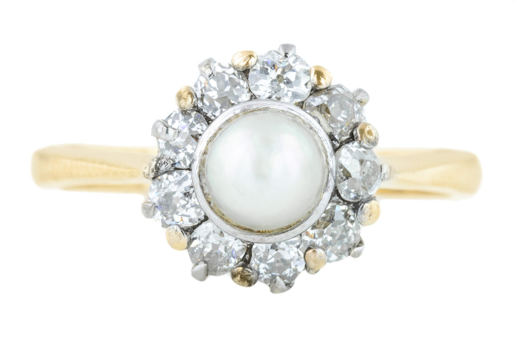 Edwardian Pearl and Diamond Ring (0.4ct)