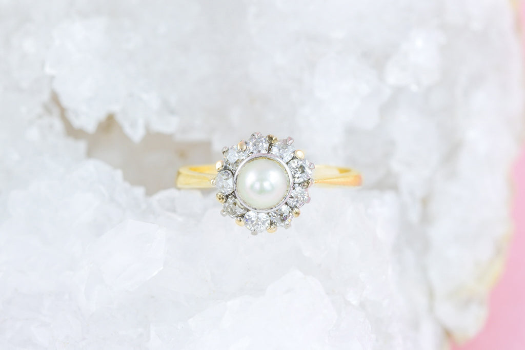 Edwardian 18ct Gold Pearl Diamond Ring (0.4ct)