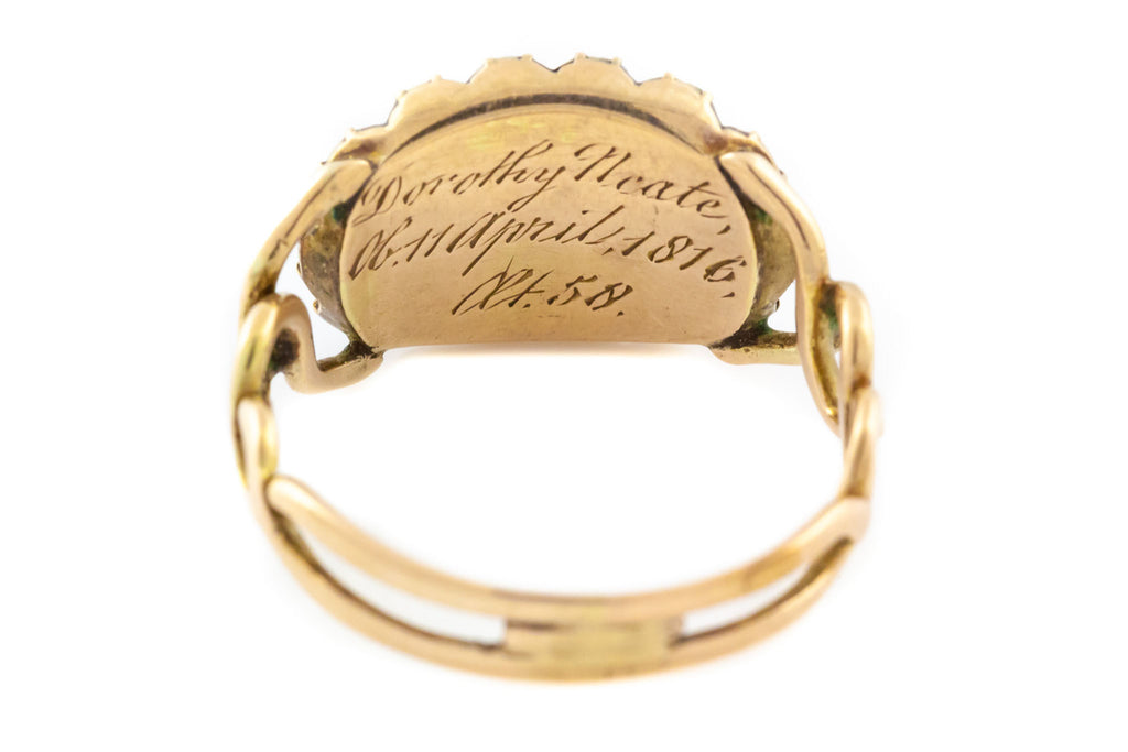 18ct Gold Georgian Mourning Ring with French Jet c.1816