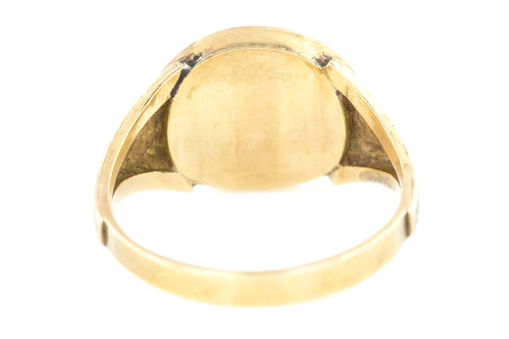 Rare Victorian Mourning Ring with Woven Hair, 9ct Gold