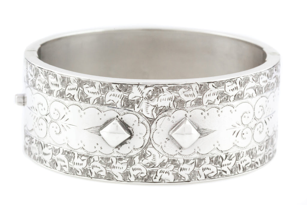 Antique Victorian Aesthetic Silver Bangle with Floral Detailing and Punk Studs
