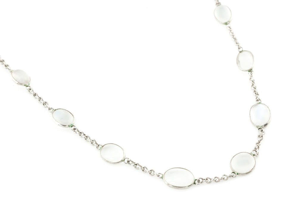 "Antique Silver Moonstone Necklace (24.4"")"