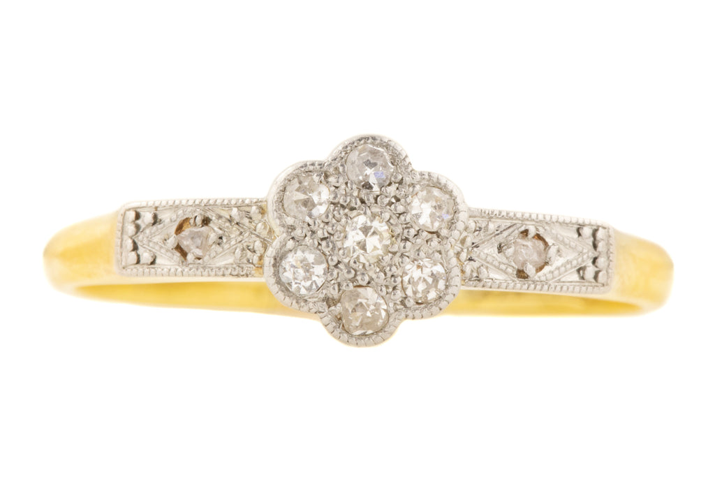 Art Deco Diamond Cluster Ring in 18ct Gold & Platinum