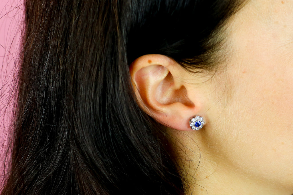 18ct White Gold Sapphire and Diamond Cluster Earrings