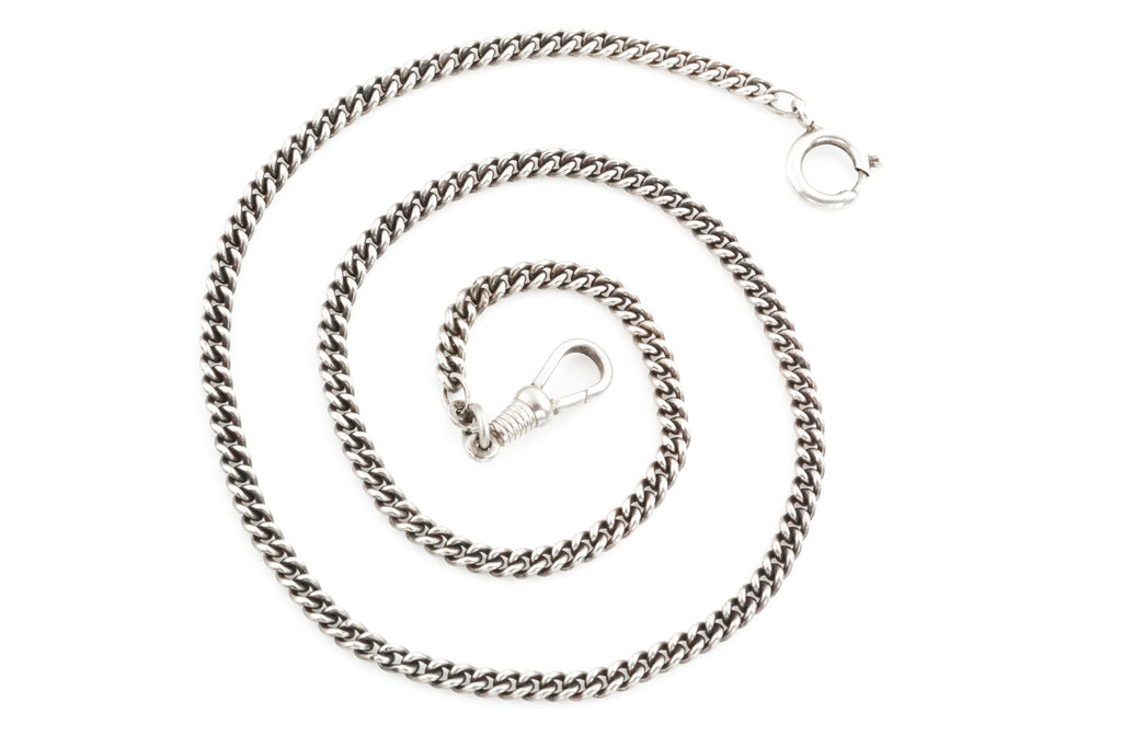 Antique Silver Chain Necklace with Bolt Ring and Dog-Clip
