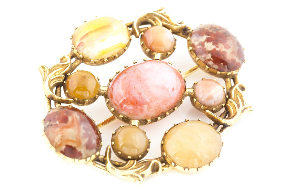 15ct Solid Gold Antique Agate Brooch