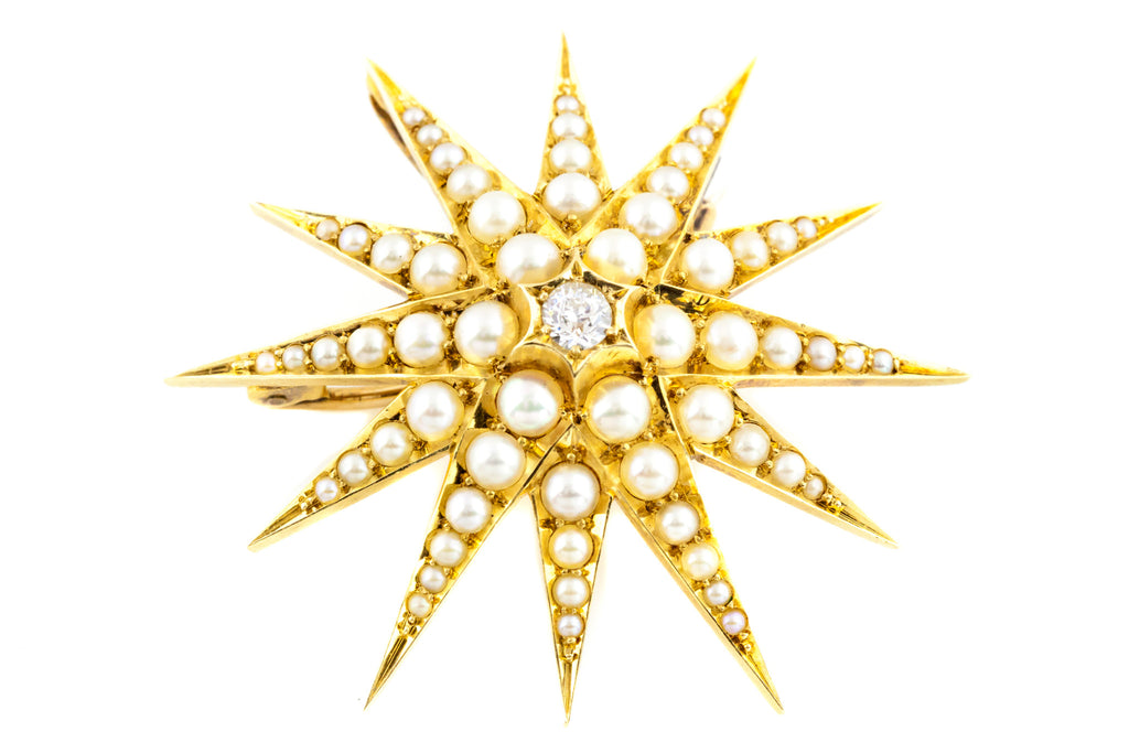 15ct Gold Victorian Pearl and Diamond Star Pendant c.1900