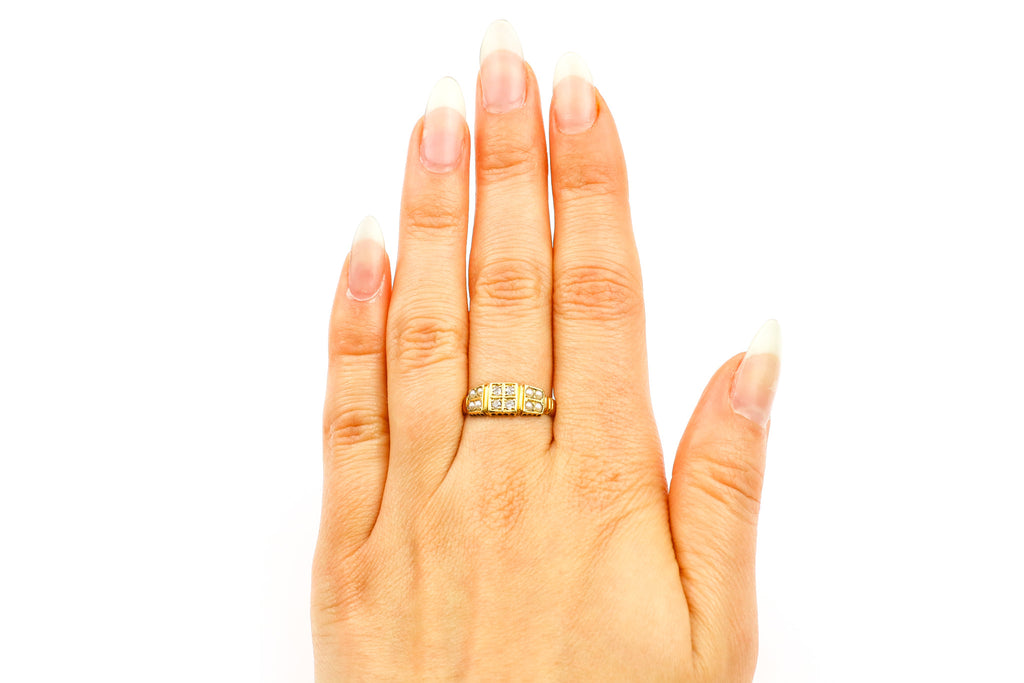 Victorian 18ct Gold Diamond and Pearl Ring