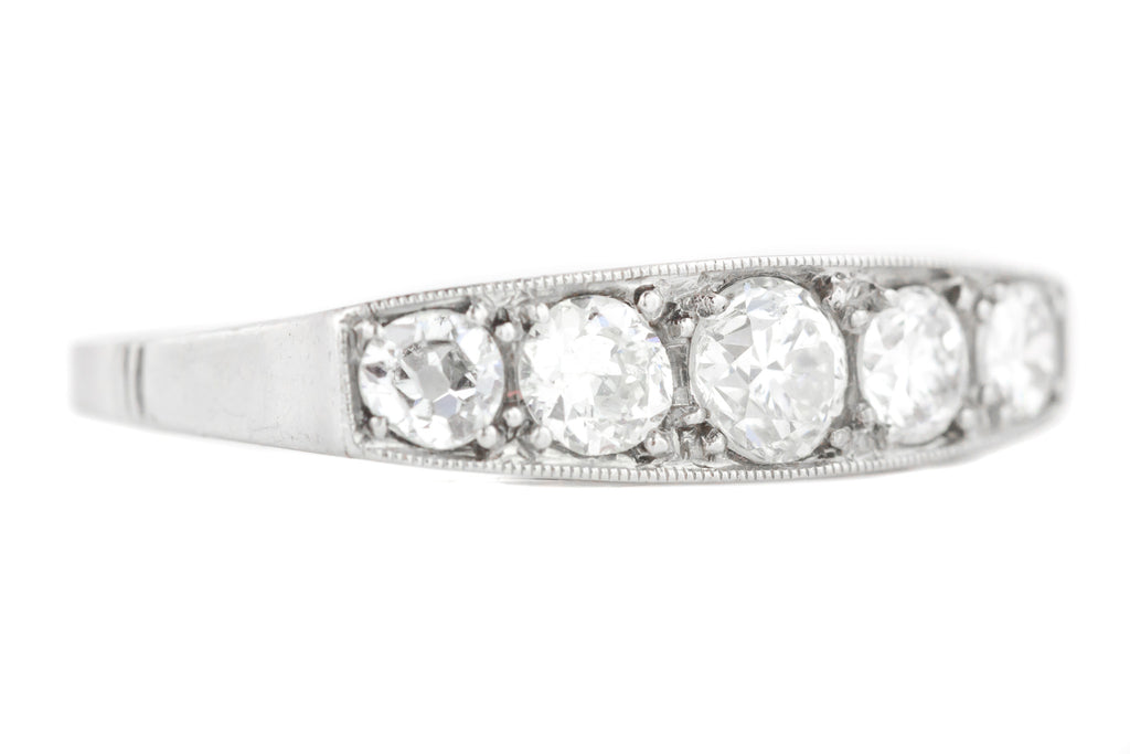 1ct Art Deco Five Stone Diamond Ring in Platinum
