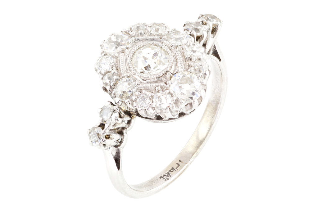 Platinum Art Deco Diamond Cluster Ring (1.02cts)
