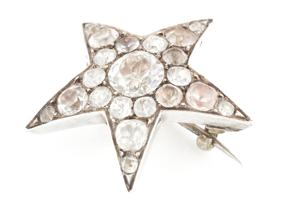 Victorian Paste Star Brooch set in Silver c.1880