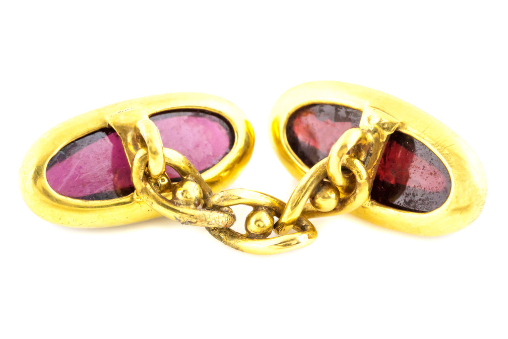 Antique Garnet Cabochon Cufflinks - Solid 15ct Gold Cufflinks