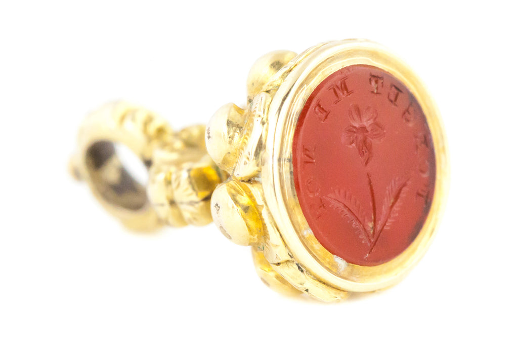 Georgian Carnelian Fob - 9ct Gold Cased with Forget Me Not Seal
