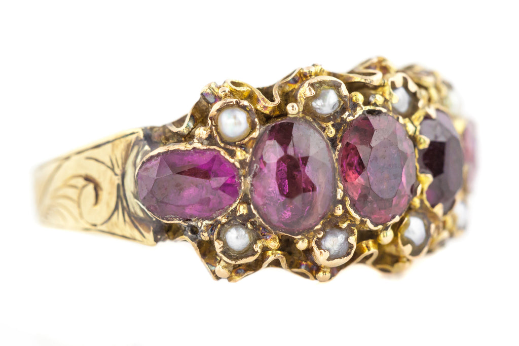 9ct Gold Five Stone Almandine Garnet and Pearl Ring c.1879
