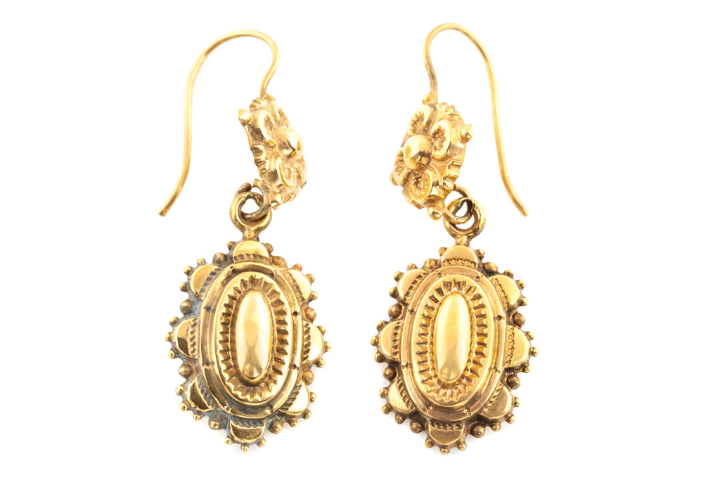 9ct Gold Etruscan Revival Victorian Drop Earrings  c.1870
