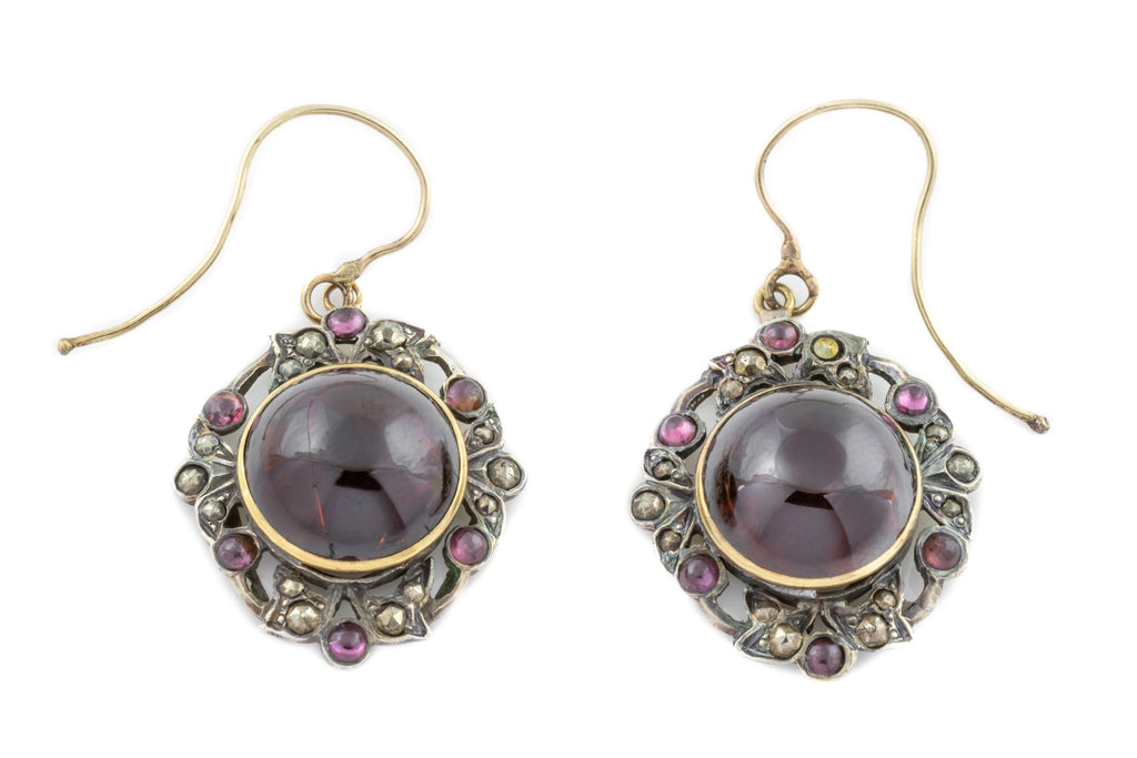 Victorian Garnet and Marcasite Drop Earrings