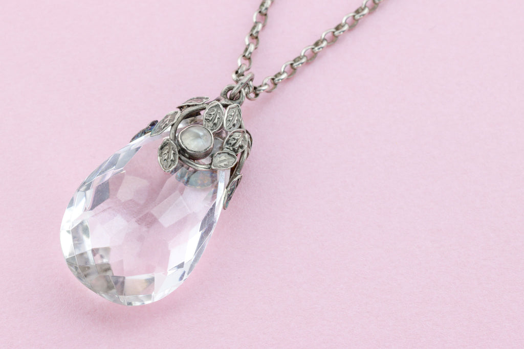 Arts and Crafts Era Rock Crystal Pendant with Original Chain