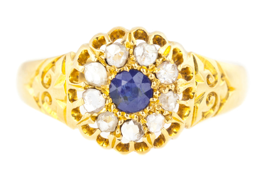 Antique Sapphire Diamond Cluster Ring - 18ct Gold Edwardian Sapphire Ring