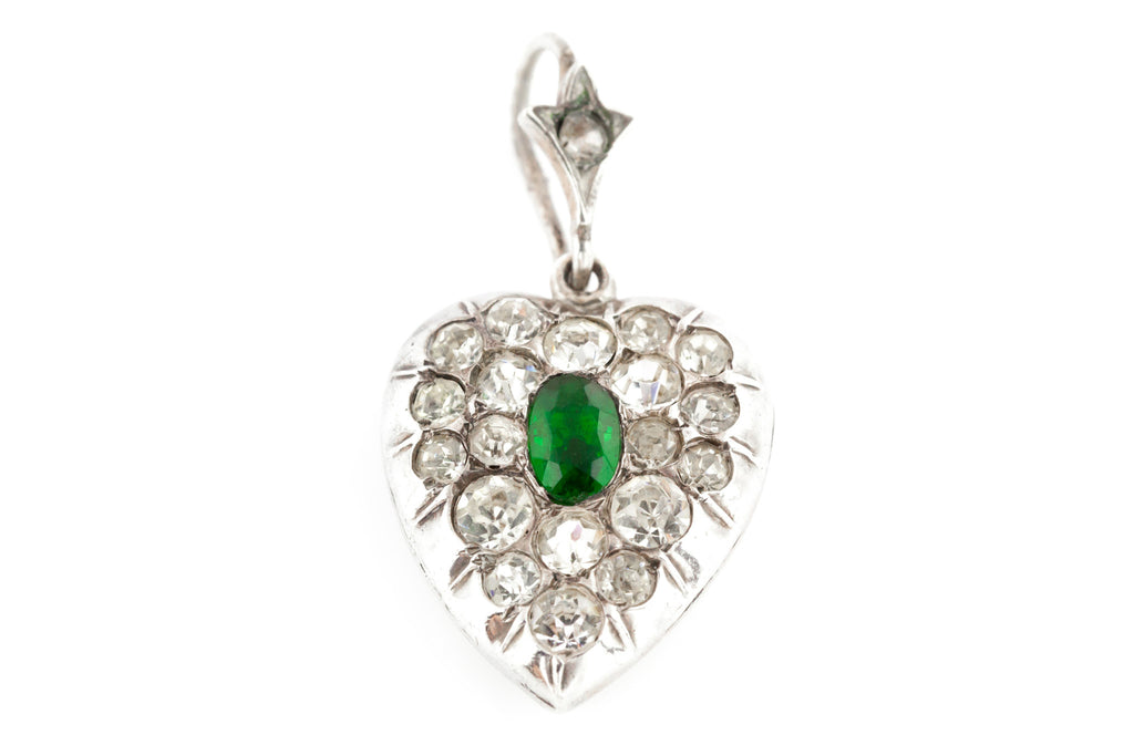 Victorian Paste Heart Pendant with Green Centre c.1850
