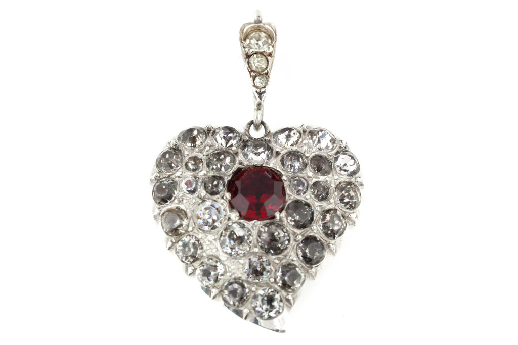 Antique Silver Paste Heart Pendant c.1840