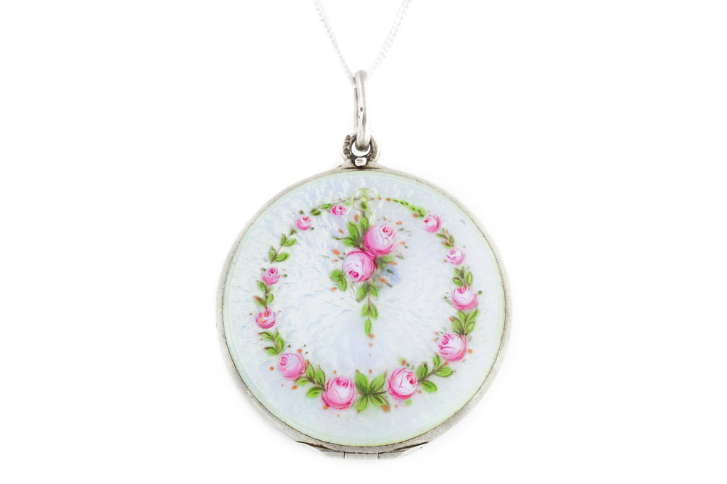 Stunning Art Nouveau Guilloche Enamel Locket with Flowers - Double Sided on Silver