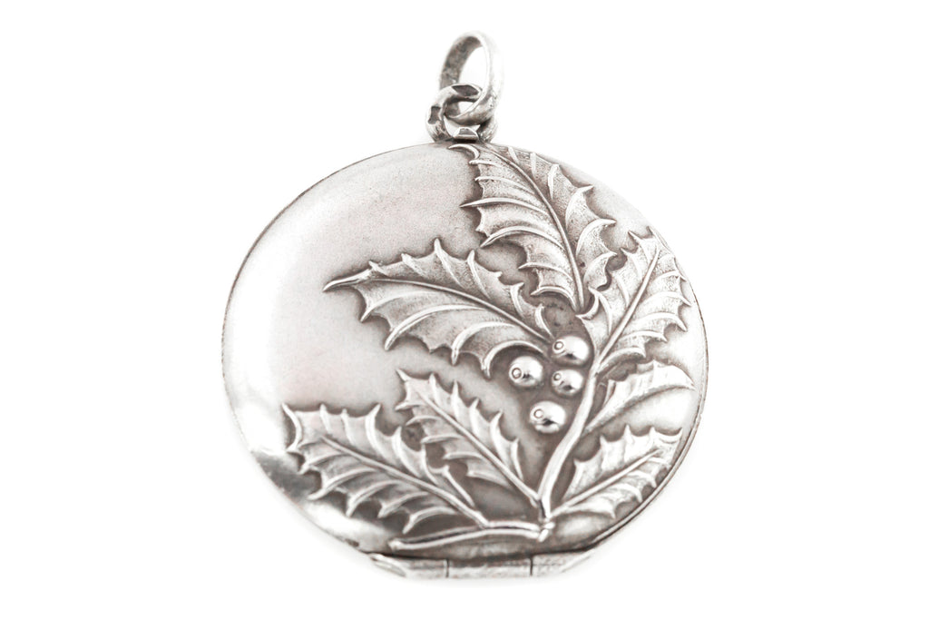 Antique Silver Locket with Holly Leaf Motif c.1890