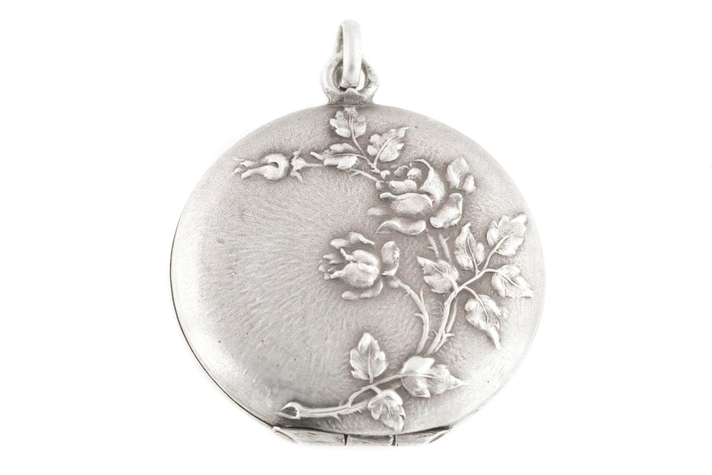 French Silver Art Nouveau Locket with Embossed Roses